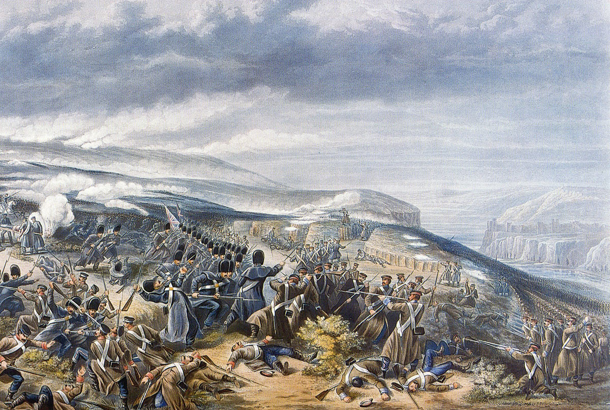 The Guards attacking the Sandbag Battery at the Battle of Inkerman on 5th November 1854 in the Crimean War