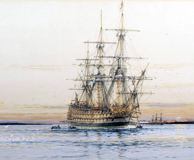 HMS Sandwich, Admiral Rodney's flagship at 'the Moonlight Battle' at Cape St Vincent on 16th January 1780 in the American Revolutionary War