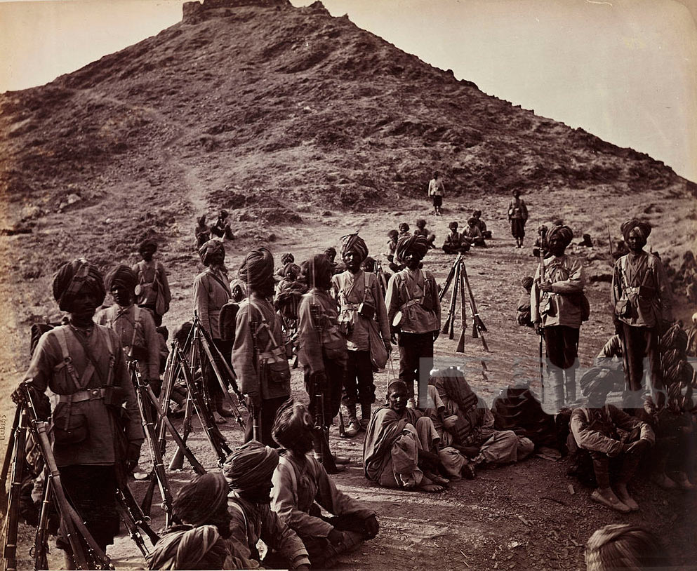 45th Rattray's Sikhs guarding Afghan prisoners: Battle of Ali Masjid on 21st November 1878 in the Second Afghan War