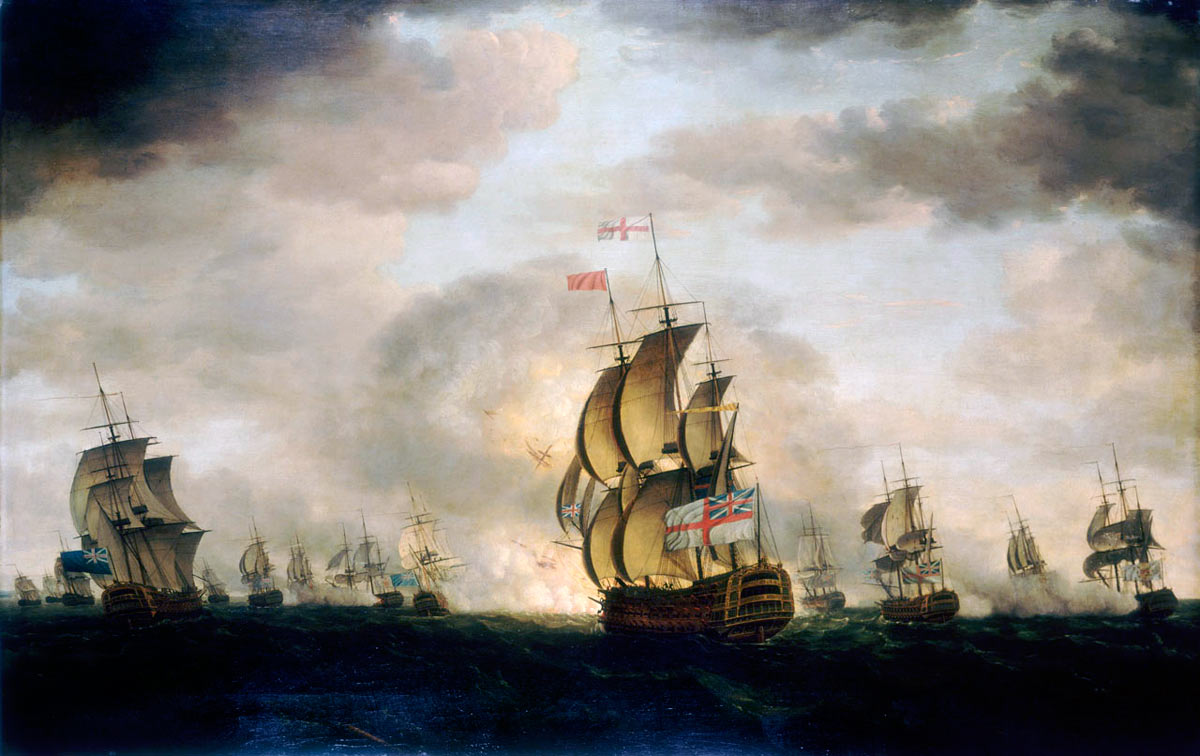 'The Moonlight Battle' at Cape St Vincent on 16th January 1780 in the American Revolutionary War: picture by Francis Holman: Rodney's flagship HMS Sandwich is in the foreground with the Spanish ship San Domingo exploding behind Sandwich.