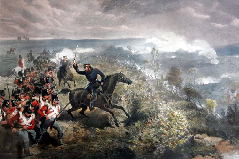 British infantry attacking the Russians at the Battle of Inkerman on 5th November 1854 in the Crimean War