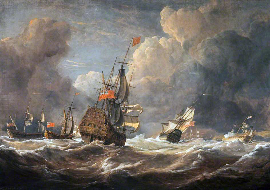 Battle at sea: 'The Moonlight Battle' at Cape St Vincent on 16th January 1780 in the American Revolutionary War: picture by John Christian Schetky