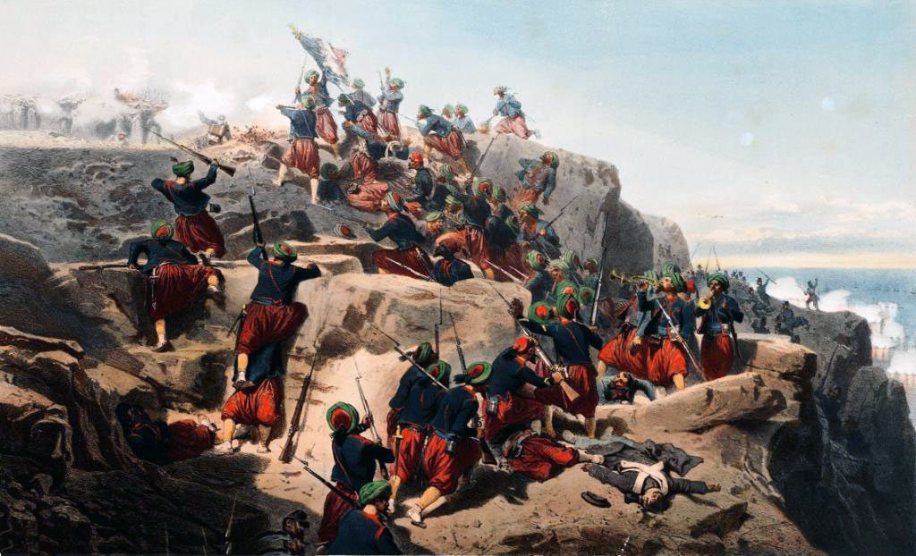 French Zouaves storming the heights at the Battle of the Alma on 20th September 1854 during the Crimean War