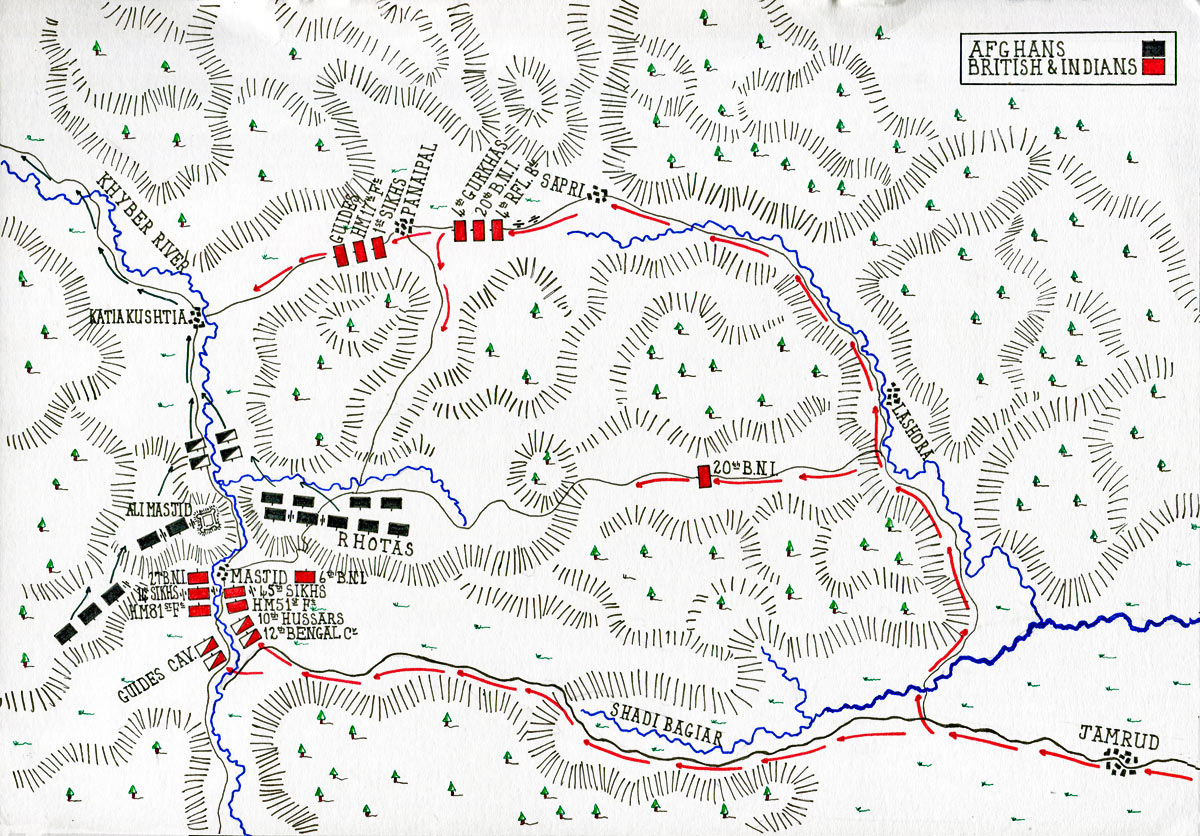 Map of the Battle of Ali Masjid on 21st November 1878 in the Second Afghan War: map by John Fawkes