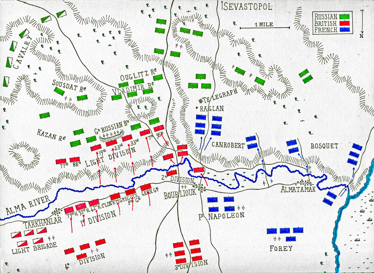 Map of the Battle of the Alma on 20th September 1854 during the Crimean War: map by John Fawkes