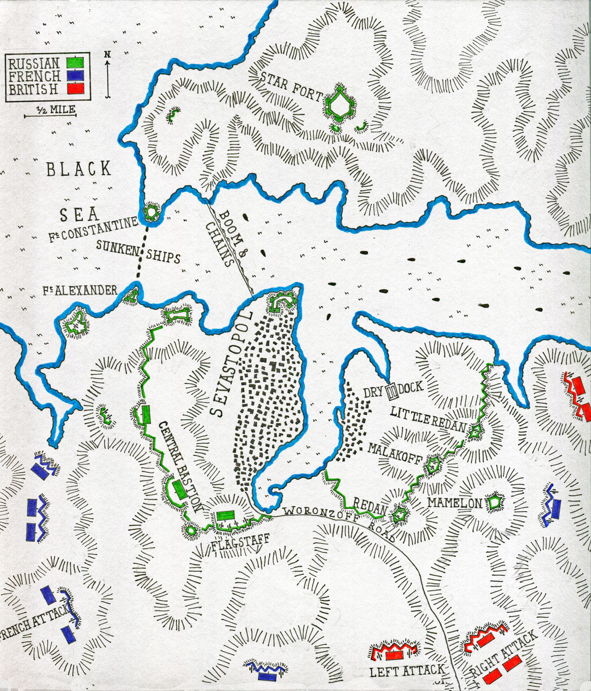Map of the Siege of Sevastopol September 1854 to September 1855: map by John Fawkes