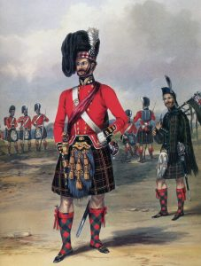 Officers of the 79th Highlanders: the Battle of the Alma on 20th September 1854 during the Crimean War: print by Ackermann