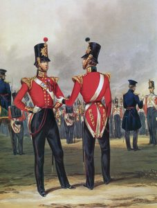 Officers of the 49th Regiment: the Battle of the Alma on 20th September 1854 during the Crimean War: print by Ackermann