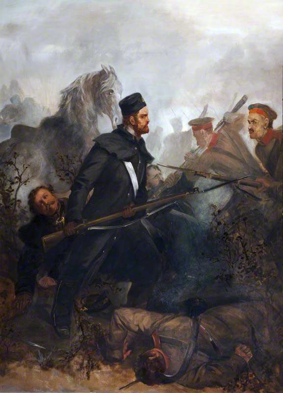Private John McDermond of the 47th Regiment winning the Victoria Cross by coming to the aid of his colonel at the Battle of Inkerman in the Crimean War: picture by Louis Desanges