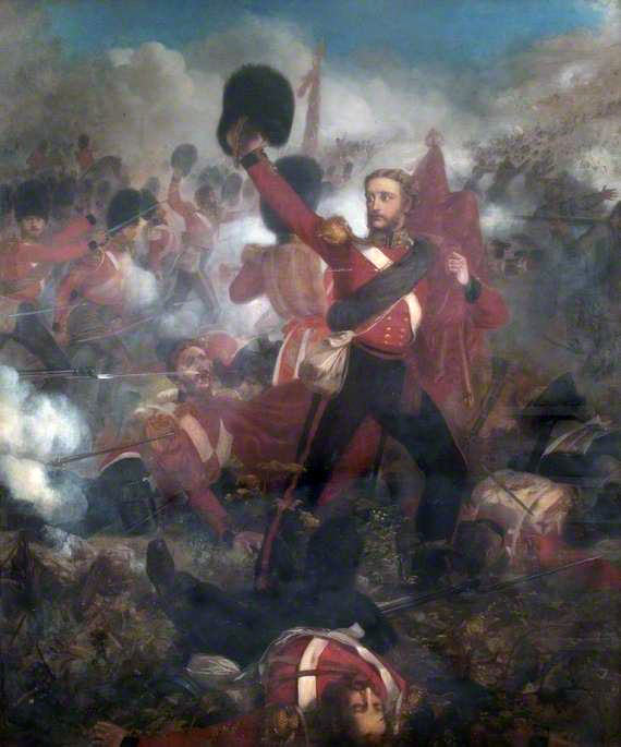 Lieutenant James Lindsay of the Scots Fusilier Guards winning the Victoria Cross at the Battle of Inkerman: picture by Louis Desanges