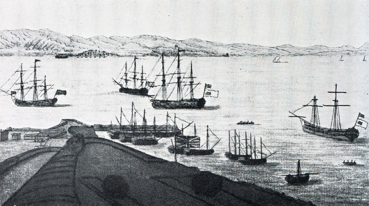 Rodney's ships lie off the New Mole in Gibraltar after 'Moonlight Battle' at Cape St Vincent on 16th January 1780 in the American Revolutionary War: the ship on the right and in the centre are captured Spanish ships with British colours over Spanish colours: eye witness sketch by Captain John Spilsbury