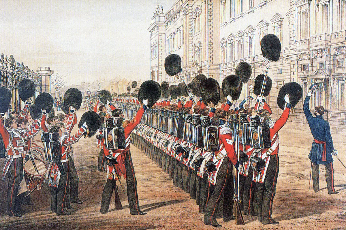 Scots Fusilier Guards cheering Queen Victoria at Buckingham Palace before leaving for the Crimea: the Battle of the Alma on 20th September 1854 during the Crimean War