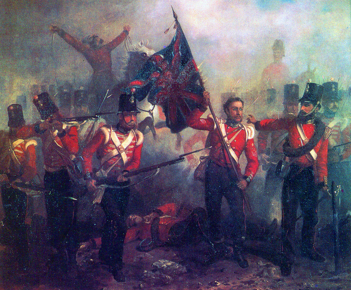 Sergeant Luke O'Connor of the 23rd Royal Welch Fusiliers winning the Victoria Cross at the Battle of the Alma on 20th September 1854 during the Crimean War: picture by Desanges