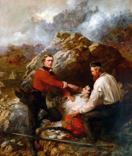 Assistant Surgeon Sylvester of the Royal Welch Fusiliers, winning the Victoria Cross on 8th June 1855 at Sevastopol, by treating his wounded adjutant Lieutenant Dyneley under fire: picture by Thomas Jones Barker