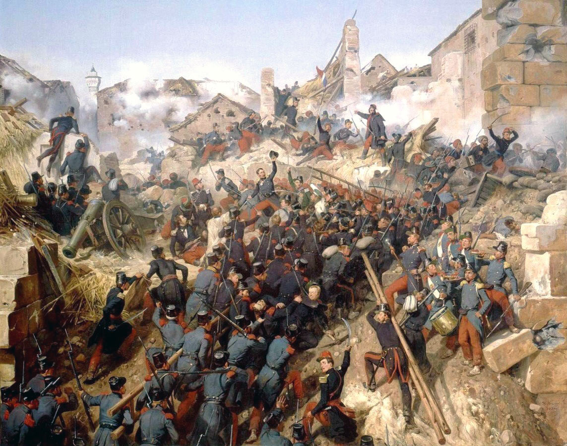 French troops storming the Malakoff on 8th September 1855 : Siege of Sevastopol September 1854 to September 1855: picture by Horace Vernet