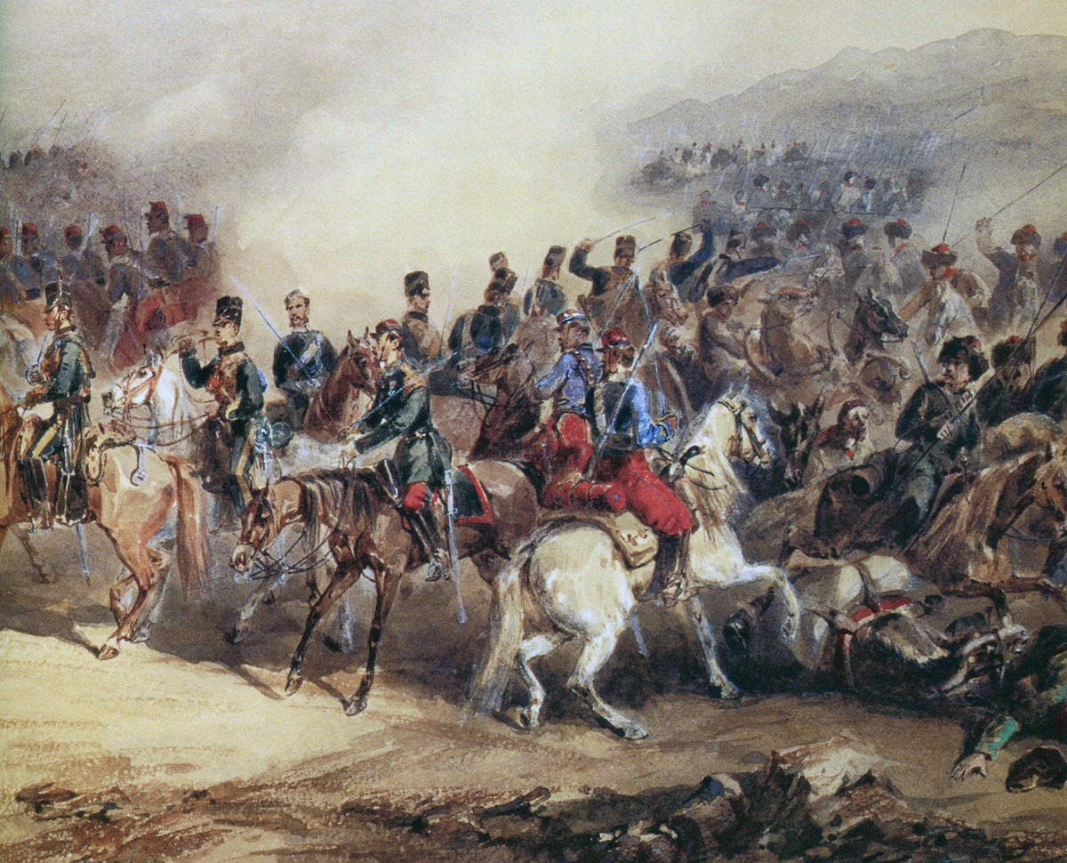 British 10th Hussars and French Chasseurs D'Afrque driving back the Russians at the Battle of the Tchernaya: Siege of Sevastopol September 1854 to September 1855: picture by Orando Norie