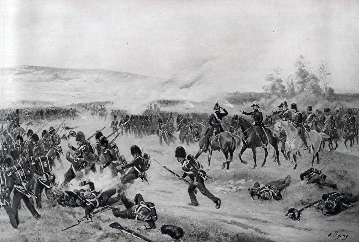The British Guards advancing at the Battle of the Alma on 20th September 1854 during the Crimean War: picture by Henri Dupray