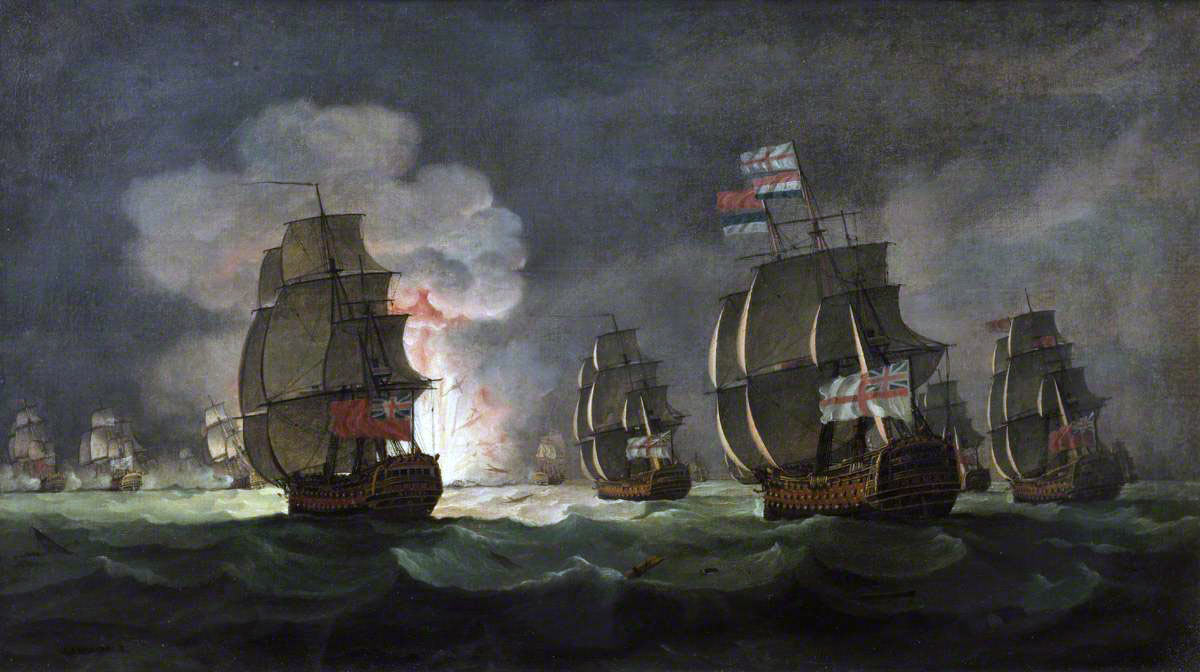 'The Moonlight Battle' at Cape St Vincent on 16th January 1780 in the American Revolutionary War: picture by Thomas Luny: San Domingo explodes.