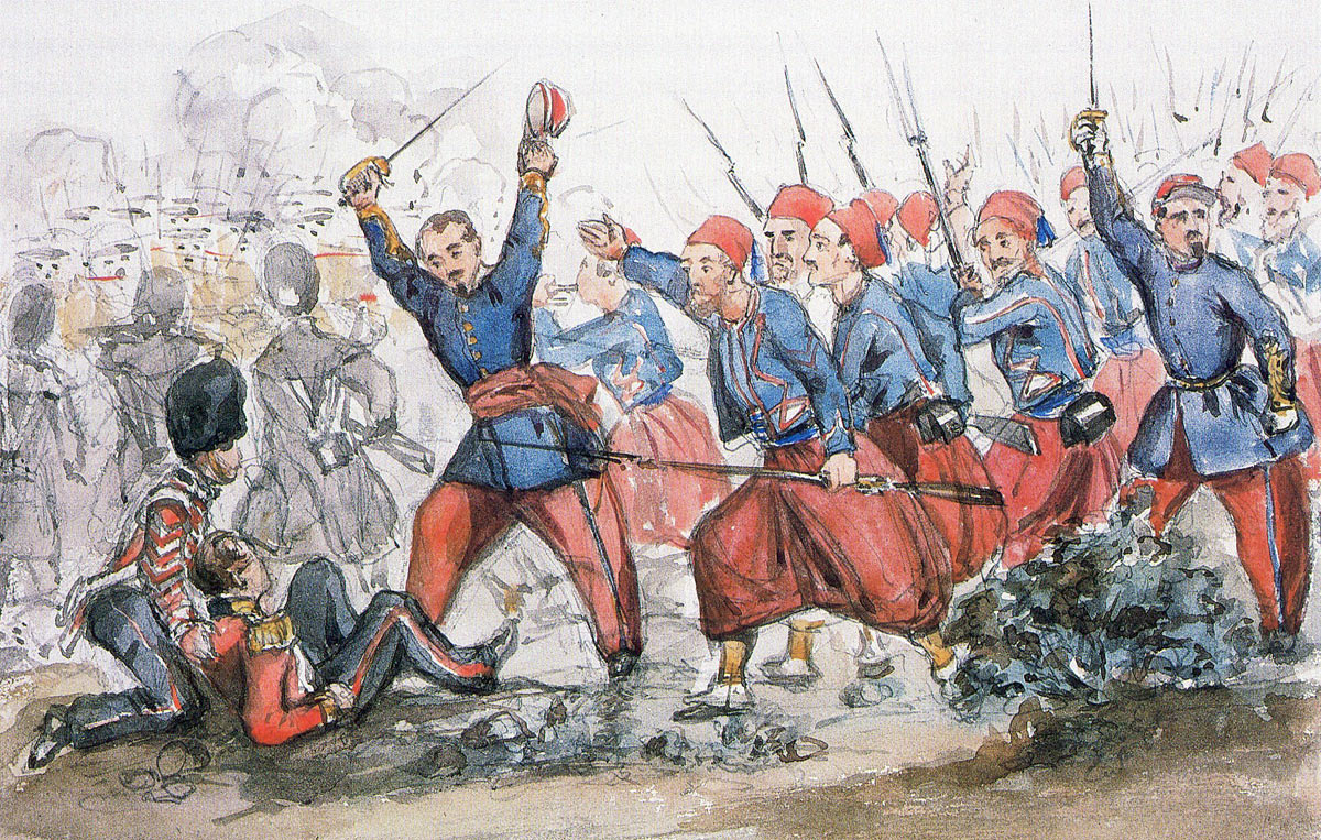 French Zouaves coming to the relief of the British Guards at the Battle of Inkerman on 5th November 1854 in the Crimean War