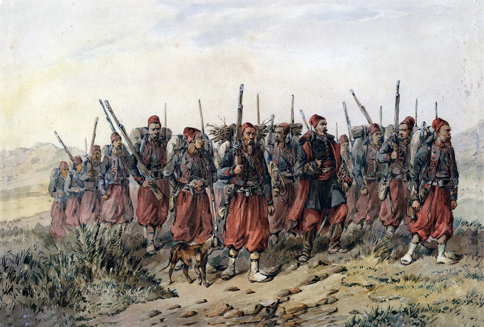 French Zouaves: Battle of Inkerman on 5th November 1854 in the Crimean War: picture by Orlando Norie
