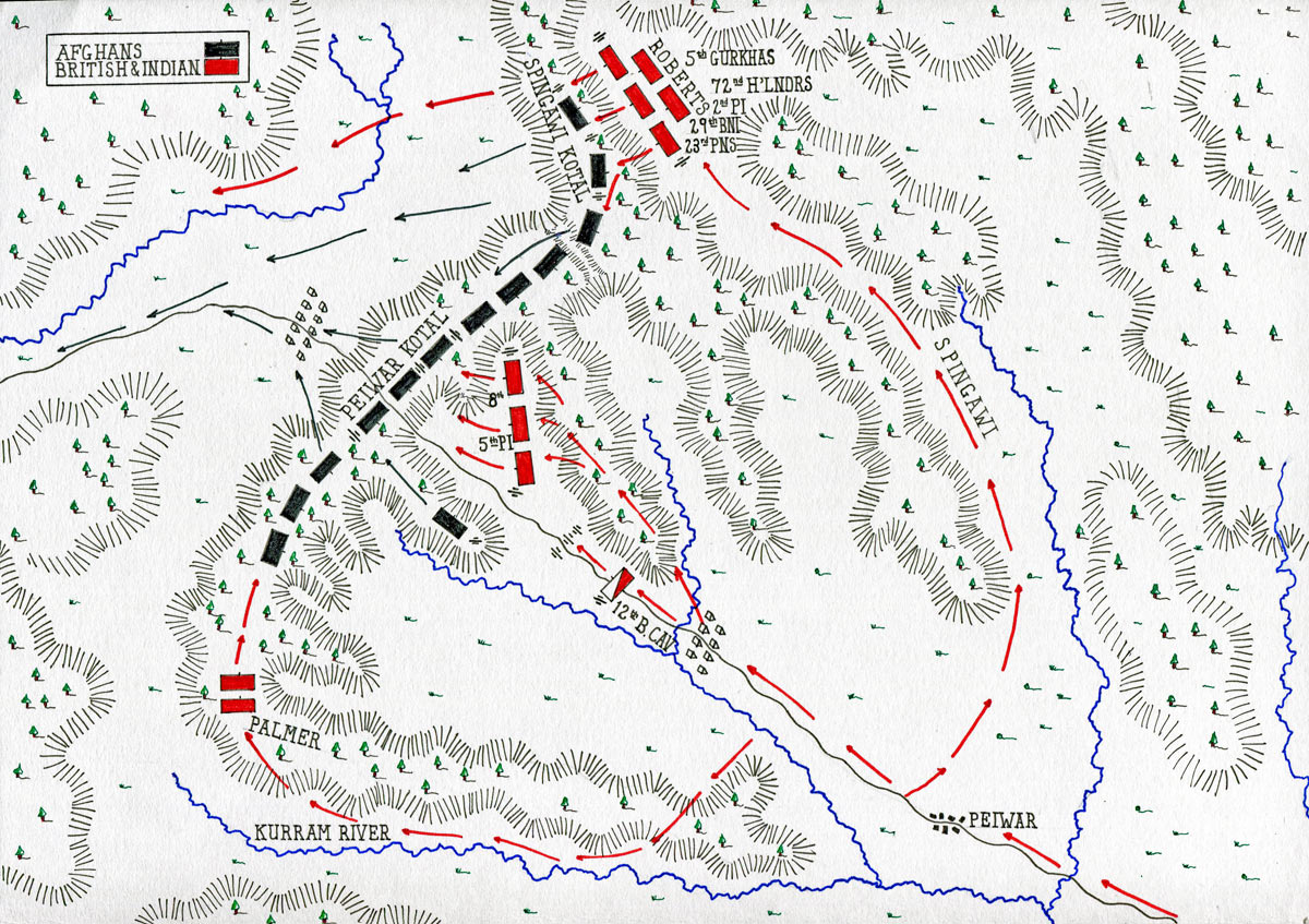 Map of the Battle of Peiwar Kotal on 2nd December 1878 in the Second Afghan War: map by John Fawkes