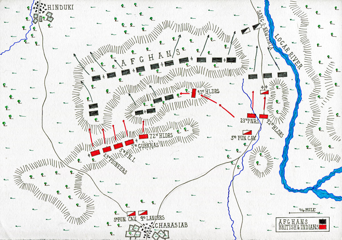 Map of the Battle of Charasiab on 9th October 1879 in the Second Afghan War: map by John Fawkes