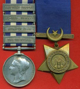 Egypt and Sudan Campaign Medal 1882 with clasp for the Battle of Tel-el-Kebir on 13th September 1882 in the Egyptian War and the Khedive's Star