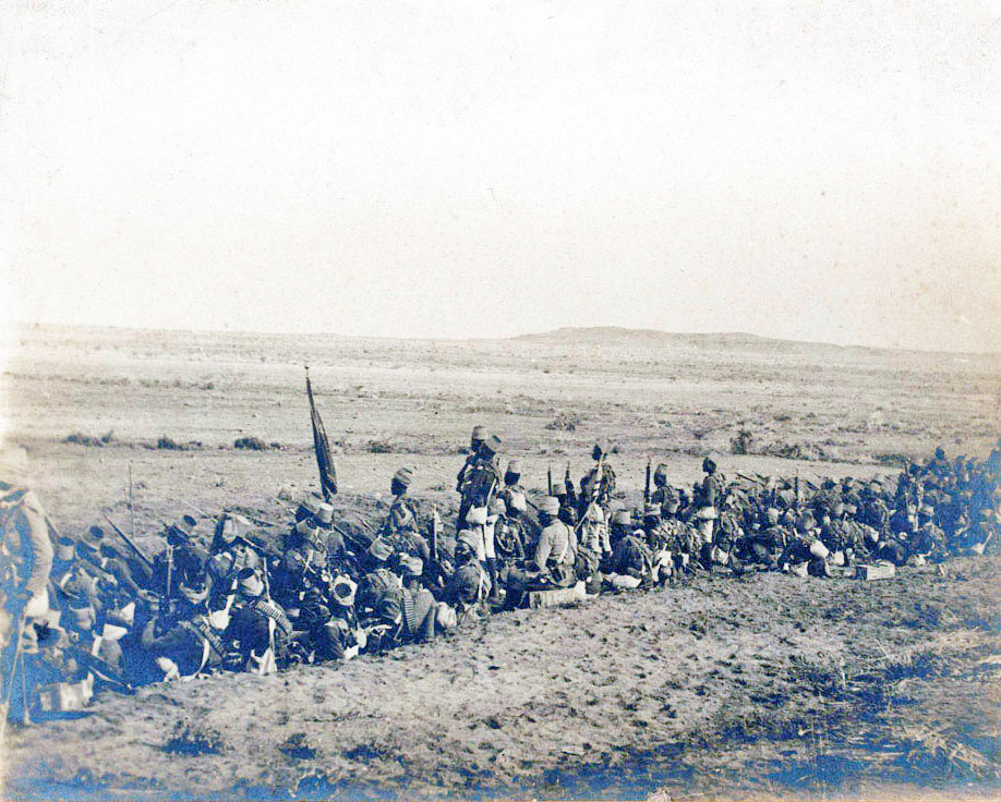 12th Sudanese in the trench at the Battle of Omdurman on 2nd September 1898 in the Sudanese War