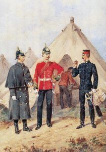 13th Somerset Light Infantry in England: Battle of Khambula on 29th March 1879 in the Zulu War: picture by Orlando Norie