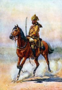 Punjab 5th Cavalry: Battle of Charasiab on 9th October 1879 in the Second Afghan War: picture by A.C. Lovett