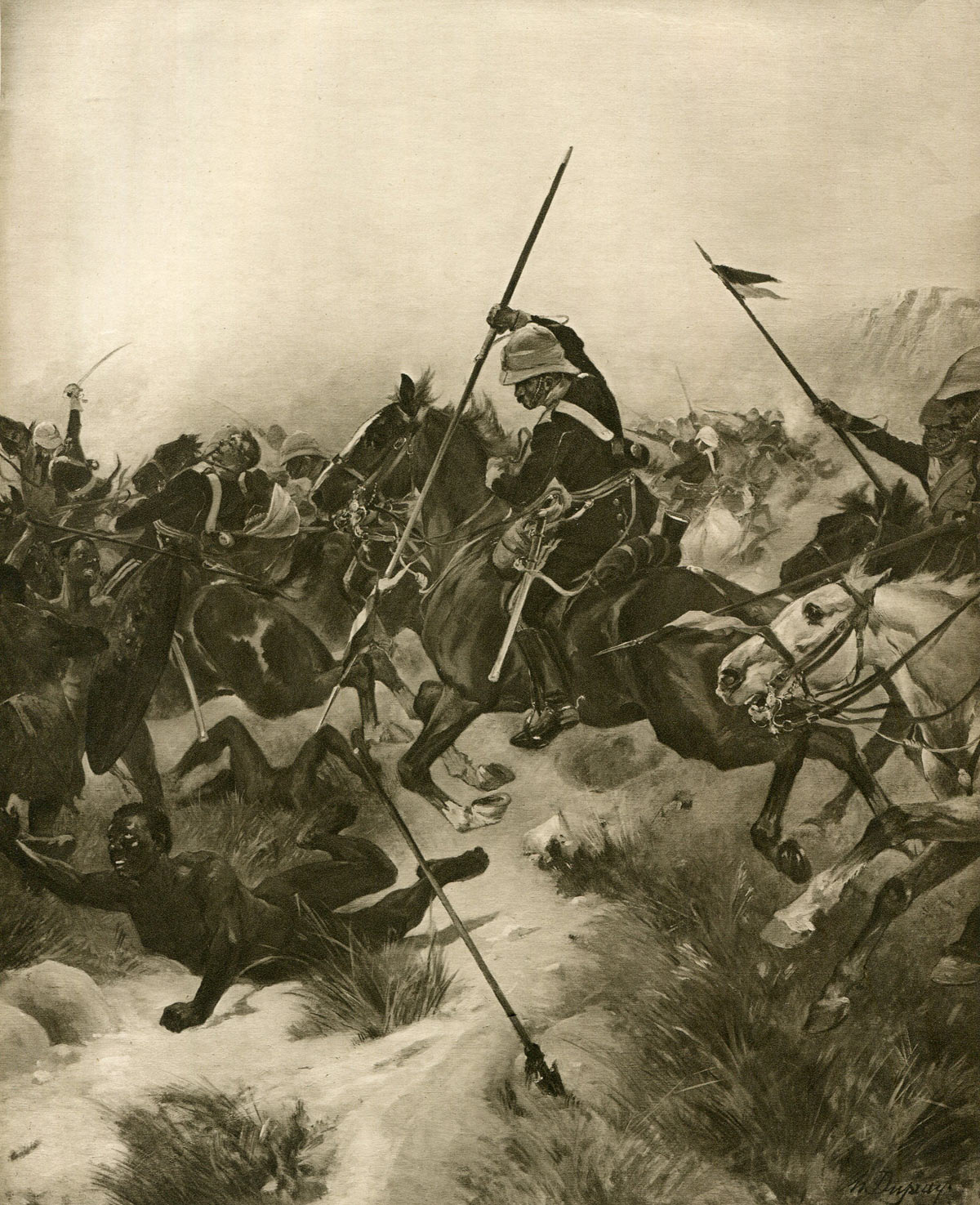 Charge of the 17th Lancers at the Battle of Ulundi on 4th July 1879 in the Zulu War: picture by Henri Dupray