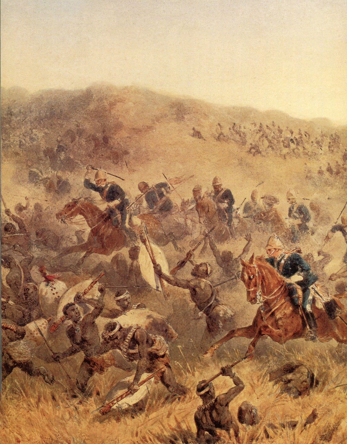 Charge of the 17th Lancers at the Battle of Ulundi on 4th July 1879 in the Zulu War: picture by Orlando Norie