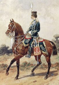 19th Hussars in England: Battle of Abu Klea on 17th January 1885 in the Sudanese War: picture by Orlando Norie