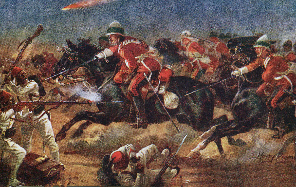 1st Life Guards in the Charge at Kassassin: Battle of Tel-el-Kebir on 13th September 1882 in the Egyptian War: picture by Harry Payne