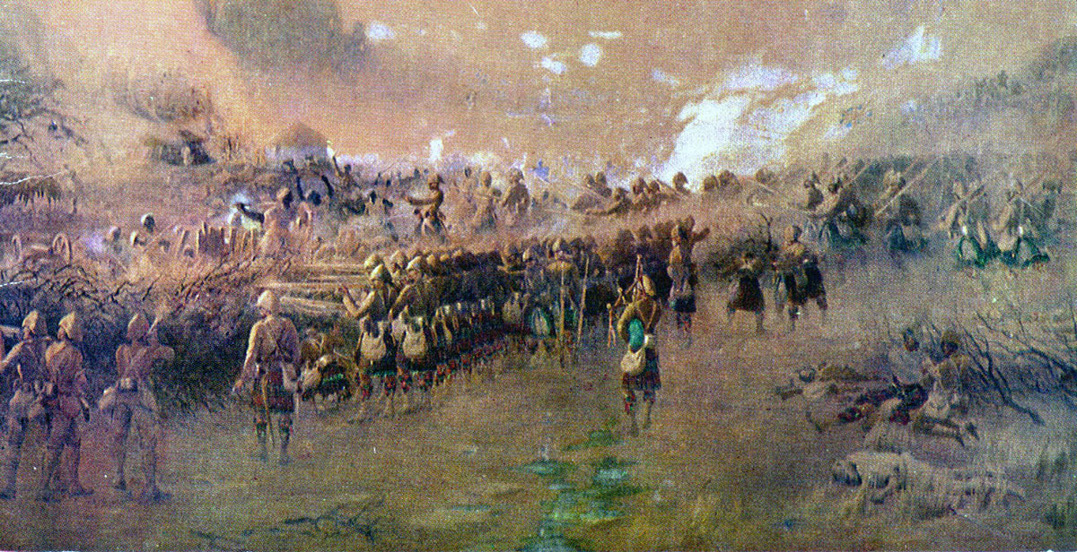 Battle of Atbara on 8th April 1898 in the Sudanese War: picture by Corporal John Farquharson of 1st Seaforths: 1st Seaforth Highlanders pass through the ranks of 1st Queen's Own Cameron Highlanders, to storm the Dervish zeriba