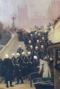 2nd Coldstream Guards leaving London for Egypt: Battle of Tel-el-Kebir on 13th September 1882 in the Egyptian War