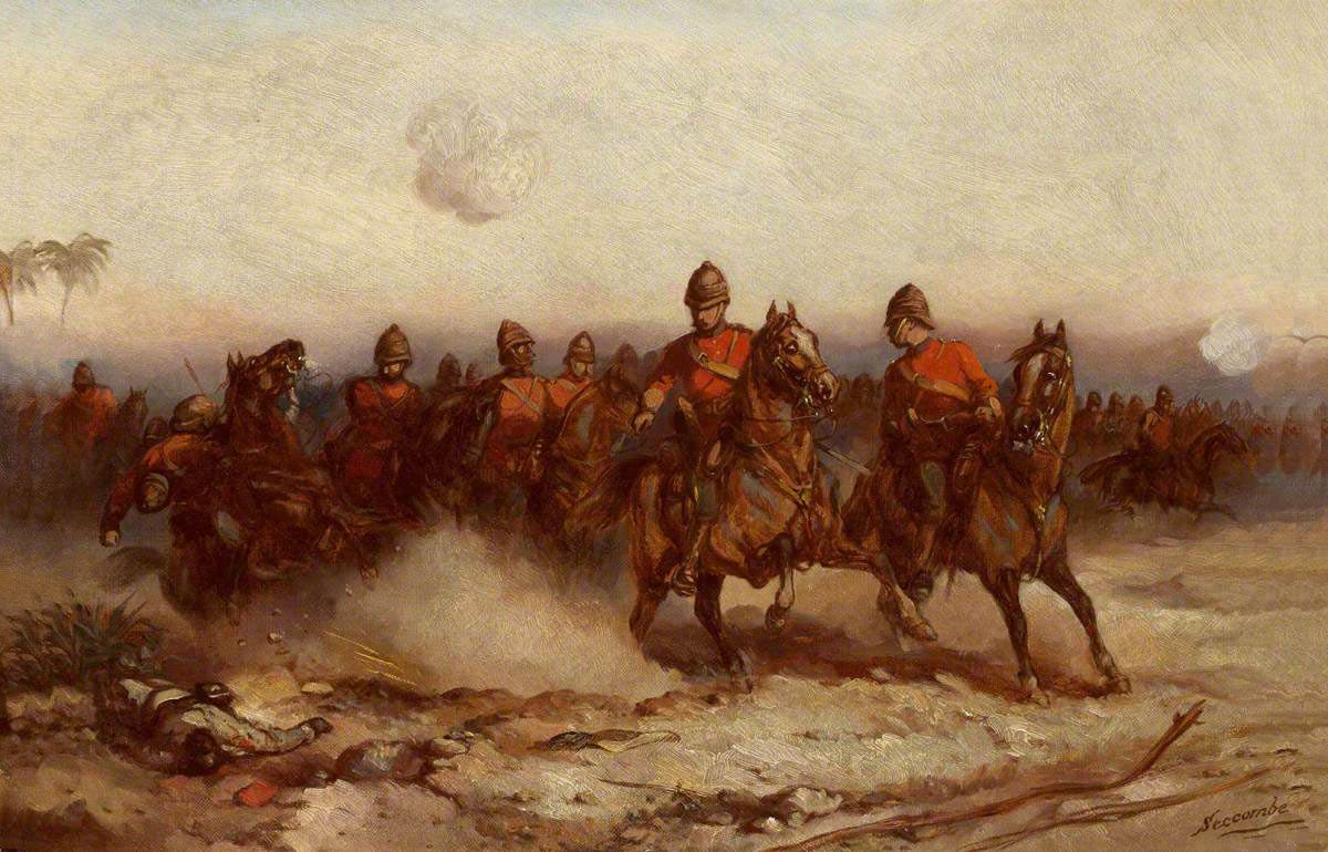 4th Dragoon Guards at the Battle of Tel-el-Kebir on 13th September 1882 in the Egyptian War: picture by Thomas Seccombe
