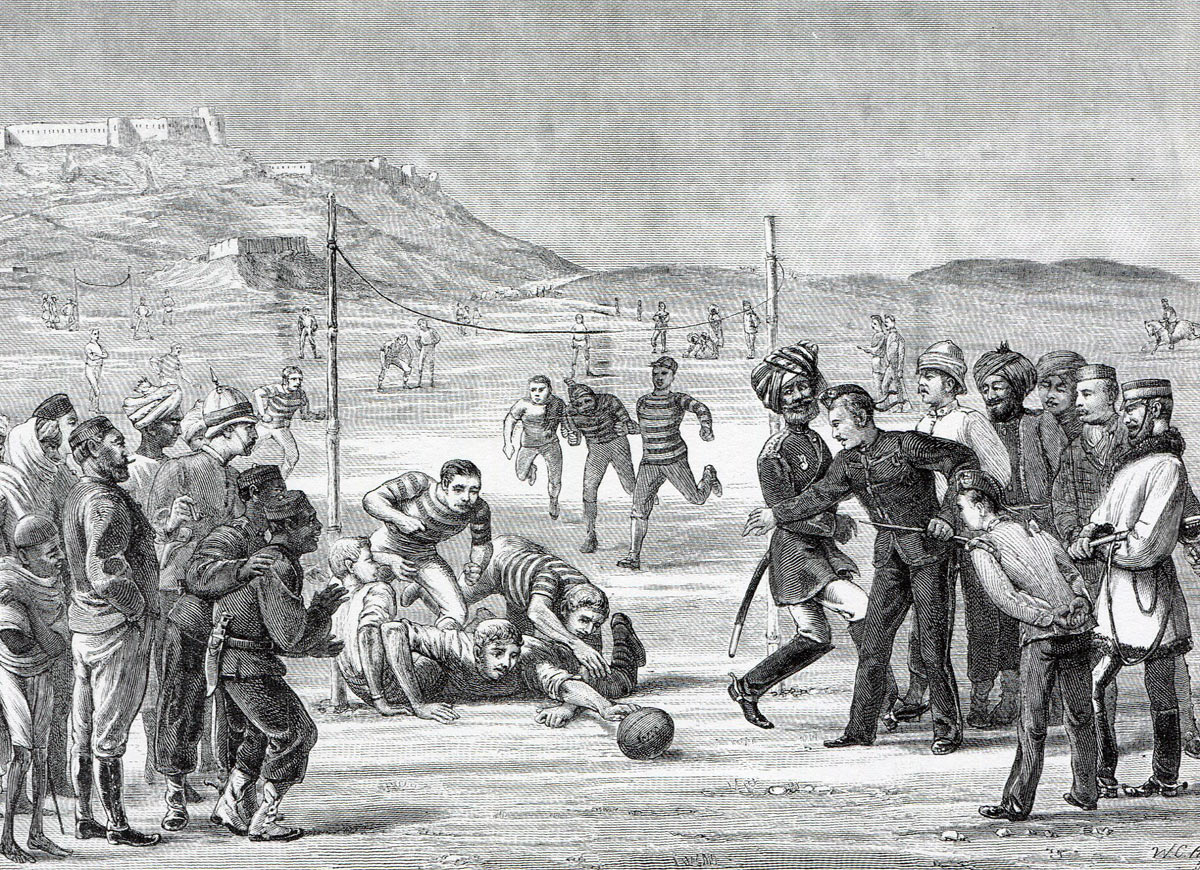 Soldiers of the British 59th Regiment playing rugby at Khelat-i-Ghilzai during the march to Kabul: Battle of Ahmed Khel on 19th April 1880 in the Second Afghan War