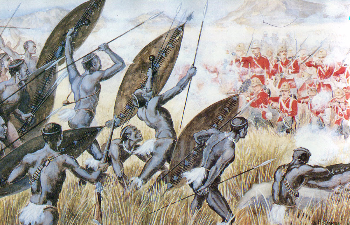 90th Light Infantry repelling the Zulu attack at the Battle of Ulundi on 4th July 1879 in the Zulu War: picture by H. Oakes-Jones