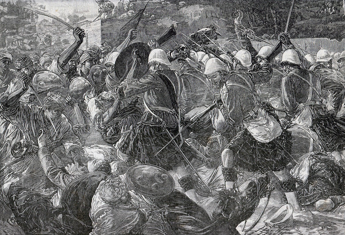 92nd Highlanders attacking Gaudi-Mullah-Sahibdad during the Battle of Kandahar on 1st September 1880 in the Second Afghan War