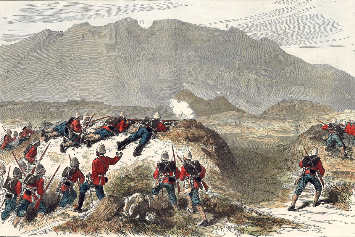 Opening shots of the Battle of Ali Masjid on 21st November 1878 in the Second Afghan War