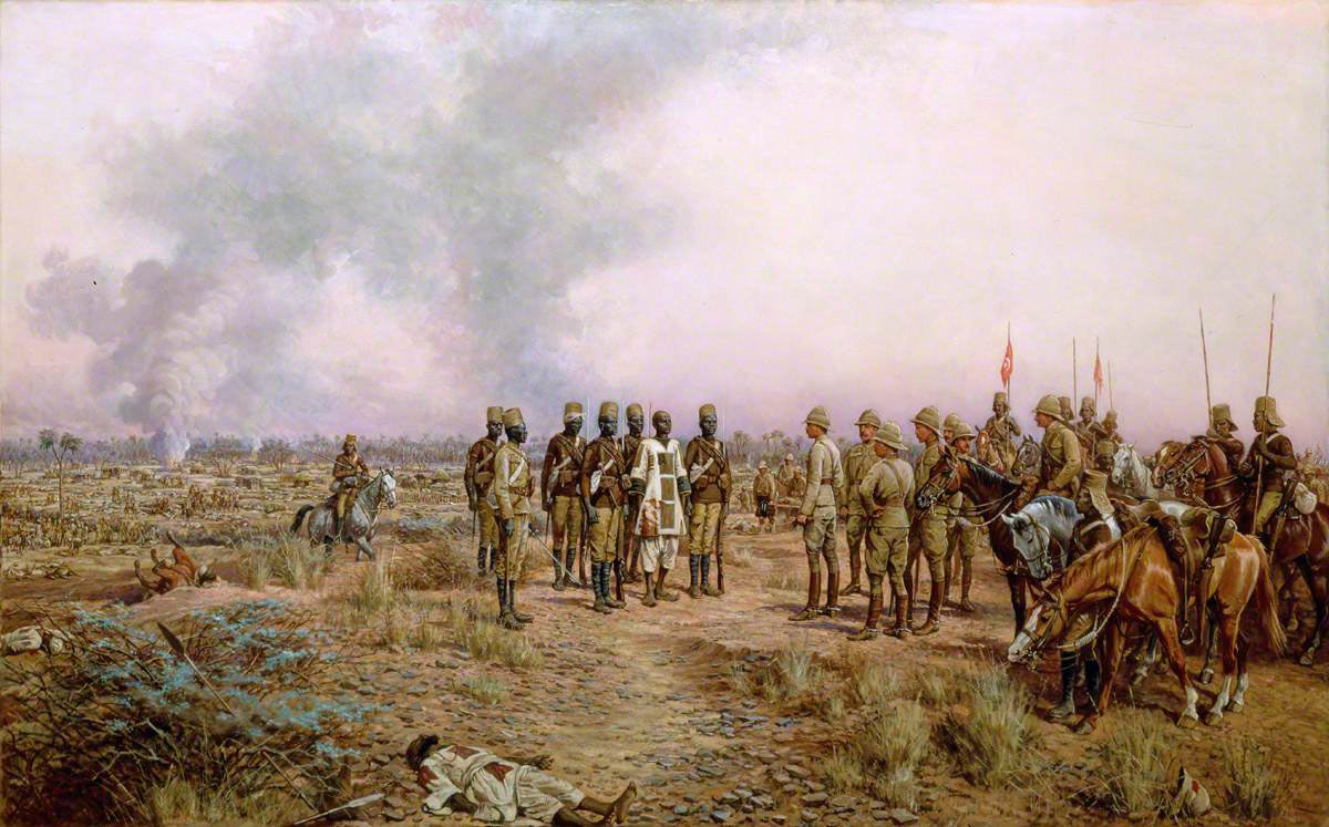The Emir Mahmud brought prisoner to General Kitchener, after the Battle of Atbara on 8th April 1898 in the Sudanese War