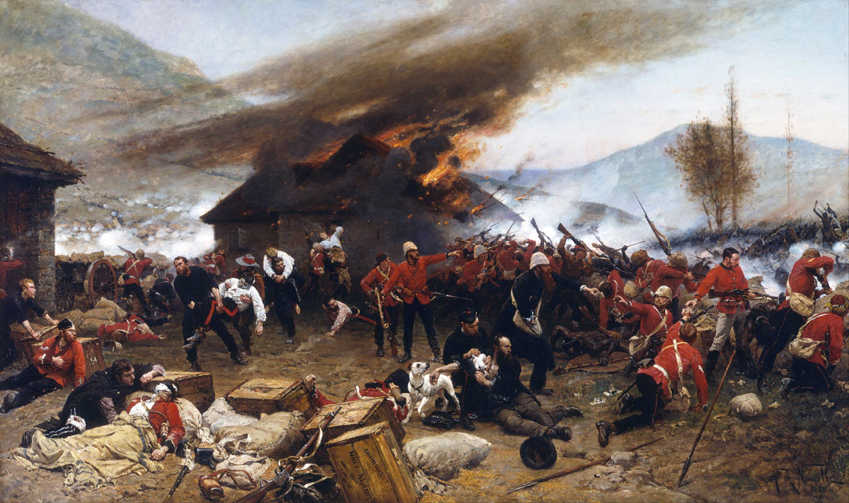 The Defence of Rorke's Drift on 22nd January 1879 in the Zulu War: picture by Alphonse de Neuville