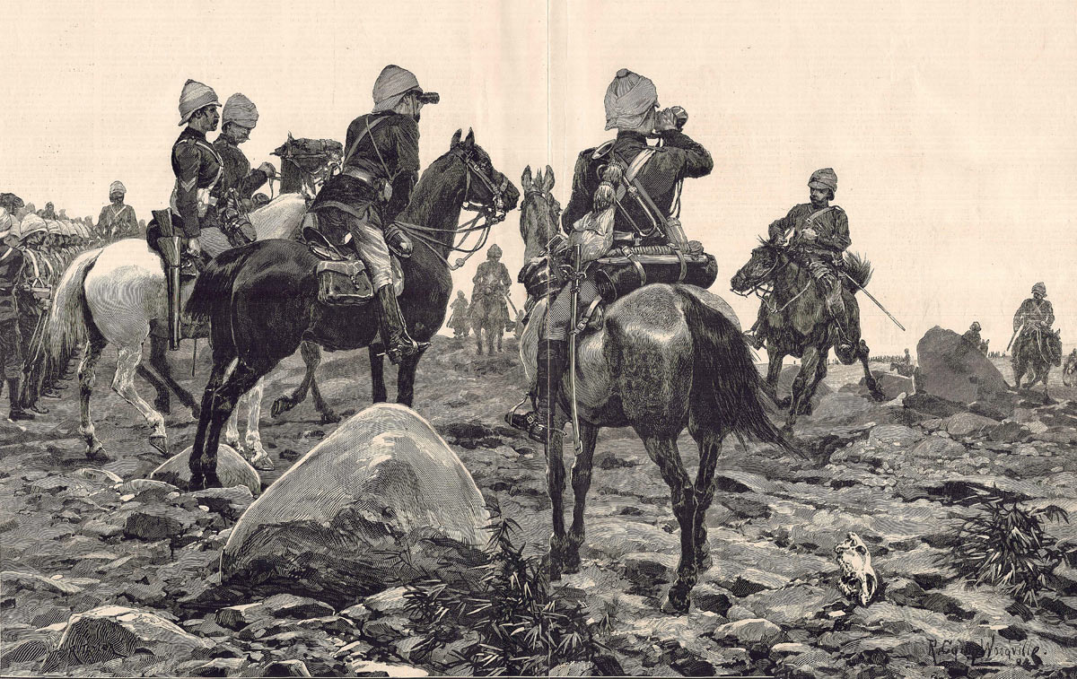 19th Hussars and an alarm in the desert: Battle of Abu Klea fought on 17th January 1884 in the Sudanese War: picture by Richard Caton Woodville