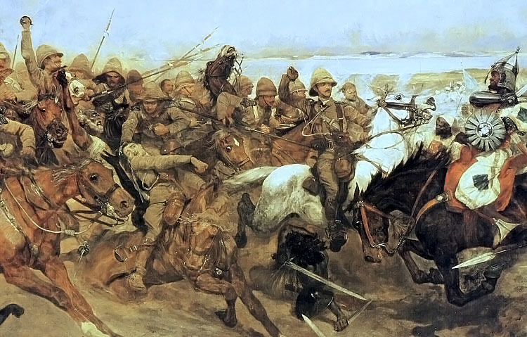 Charge of the 21st Lancers at the Battle of Omdurman on 2nd September 1898 in the Sudanese War: picture by Richard Caton Woodville
