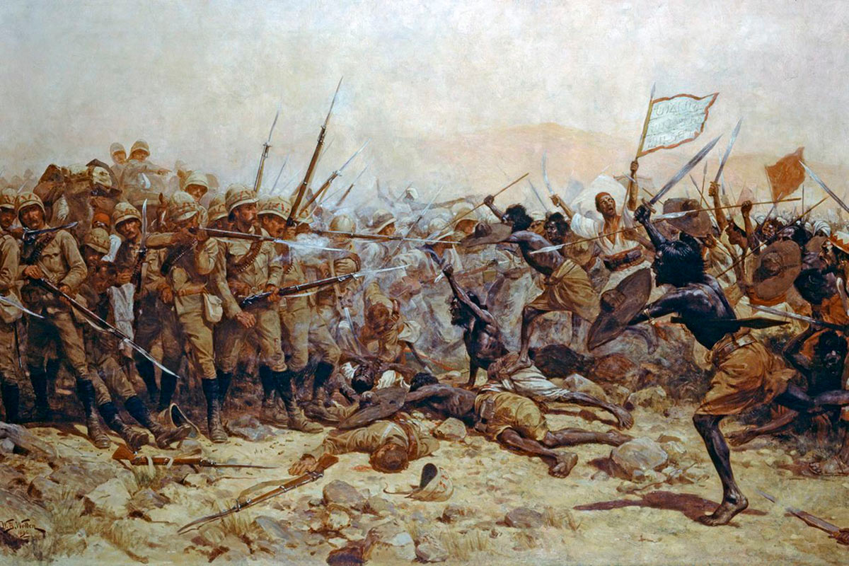The Mahdist attack on the British square at the Battle of Abu Klea on 17th September 1885 in the Sudanese War: picture by William Barnes Wollen