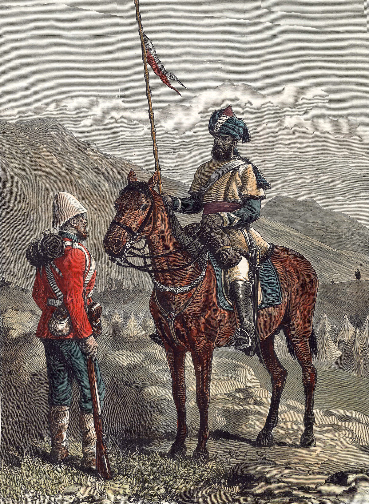 British infantryman and a Bengal Sowar: Battle of Ahmed Khel on 19th April 1880 in the Second Afghan War