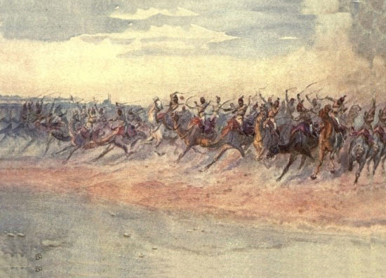 The Egyptian Camel Corps: Battle of Omdurman on 2nd September 1898 in the Sudanese War: picture by Lady Butler