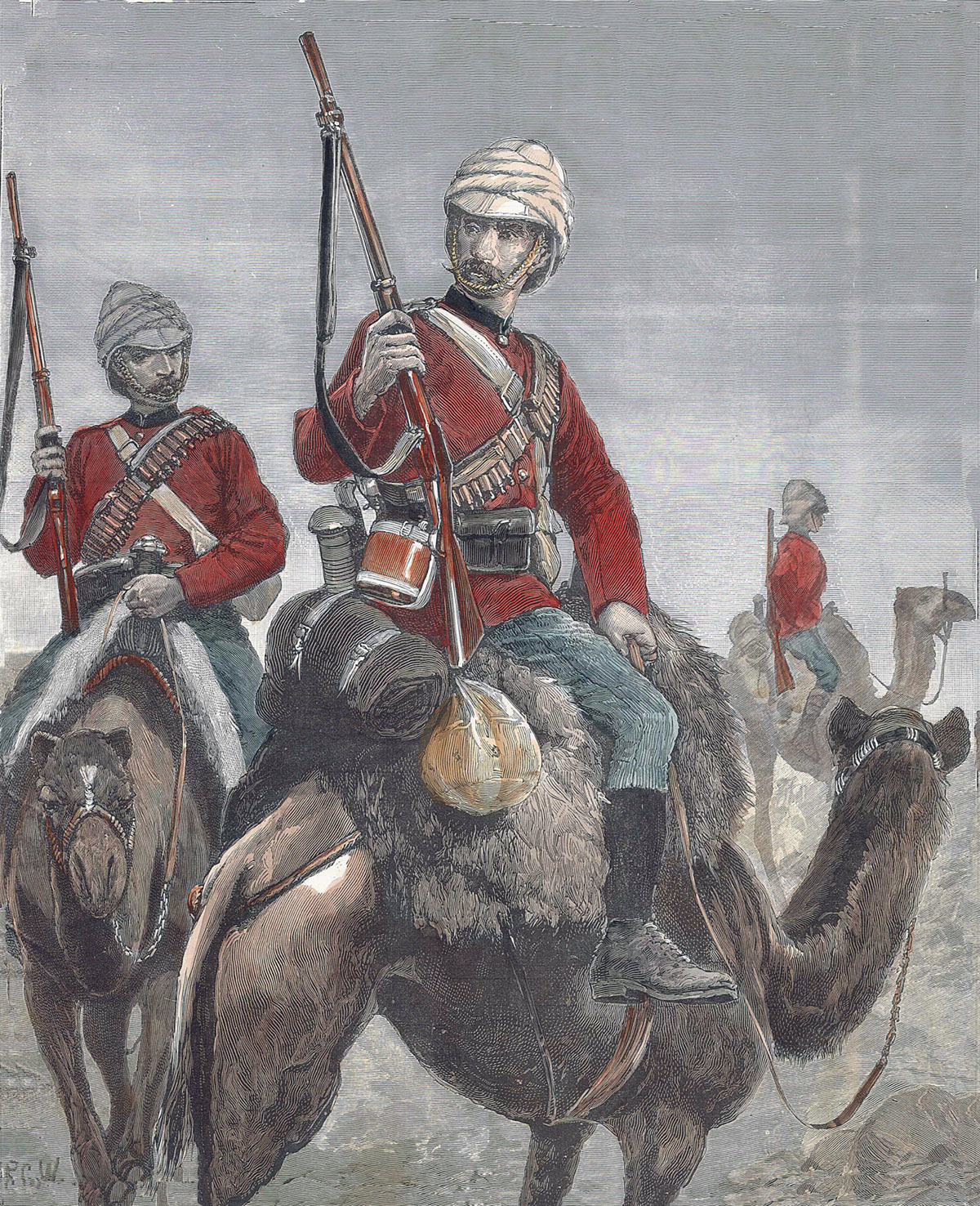 The British Camel Corps: Battle of Abu Klea on 17th January 1885 in the Sudanese War: picture by Richard Caton Woodville
