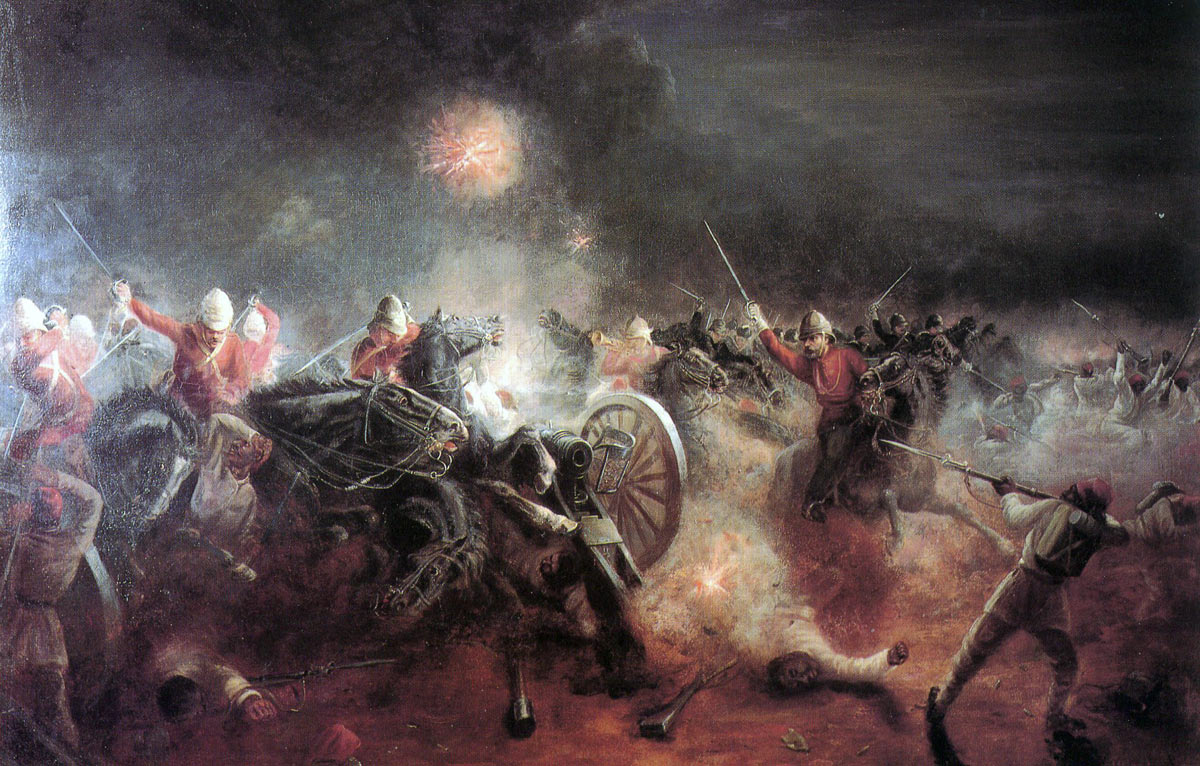 Charge of the Household Cavalry at Kassassin: Battle of Tel-el-Kebir on 13th September 1882 in the Egyptian War: picture by J. Richards